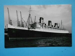 VINTAGE CUNARD MARINE POSTCARD-RMS QUEEN MARY