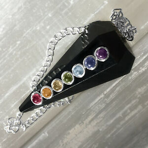 Black Tourmaline Crystal Pendulum Chakra Gemstone Reiki Pendant Dowsing CHARGED