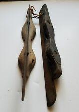Pair of Primitive Antique Wood Ice Skates