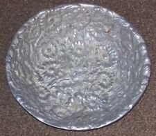 Floral Embossed Heavy Cast Aluminium Fruit / Salad Bowl Centrepiece