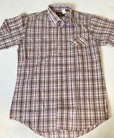 Vintage Plaid Button Shirt Rockabilly Gimbels Size Medium