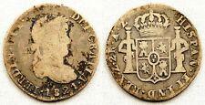 Spain-Fernando VII. 2 reales 1821. AZ. Zacatecas. Plata 6,4 g. Cal-1081. ESCASA