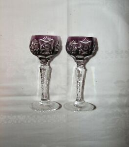2 amethyst CUT TO CLEAR vintage crystal GERMANY mini liqueur schnapps GOBLETS