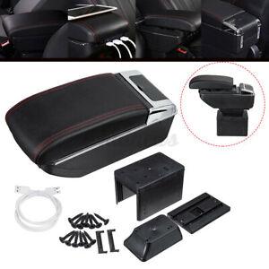 Universal USB Storage Arm rest Cushion Armrest Centre Console Box Leather Cover