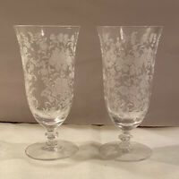 """ELEGANT Set of 2 Tiffin Rose Crystal 6 1/2"""" Tall Iced Tea Water Footed GLASSES"""