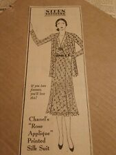 1930 Chanel's Rose Applique Printed Silk Suit Newspaper Ad Stern Bros