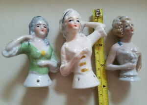 3 Lovely Vintage  Hand Painted Sexy PinUp  Half Dolls   LOT
