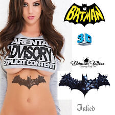 REALISTIC TEMPORARY TATTOO - BATMAN WINGS 3D LARGE - MENS, WOMANS, KIDS FAKE