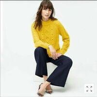 NWT J. Crew Womens Sz XXS Pom-Pom Cable Knit Mock Neck Sweater Gold Yellow