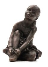 More details for exquisite figurine of a young ballet dancer lacing her ballet shoes, faux bronze