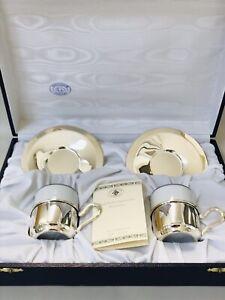 Vintage Argenterie Greggio 800 Silver Cup Saucer IOB Set Of 2 Italy