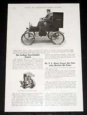 """1903 OLD MAGAZINE ARTICLE,  """"THE JACKSON TWO-CYLINDER ENGINE"""", FOUR-CYCLE MOTOR!"""