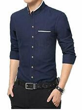 Chinese Collar Casual Mens Cotton Full Sleeves Navy Blue Partywear Slim Shirts