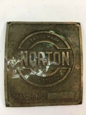 Vintage Name Plate Norton Machine Brass Tag ID Plaque Advertising Metal