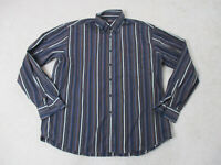 Paul & Shark Button Up Shirt Adult Large Size 46 Blue Brown Striped Casual Mens