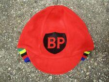 Casquette bonnet cycliste BP rouge oldschool cap vintage années 70