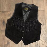 VTG 90s Black Leather Fringe Vest Western Boho Southwest Learsi Womens M