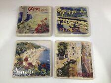 Set of 4 - Handmade Natural Stone Ceramic Tile Drink Coasters