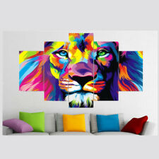 Male lion face or head 15x20cm Small stretched canvas picture 6x8/""
