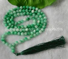 32'' Natural 8mm Green Jade Tibet Buddhist Prayer Beads Mala Necklace PN765