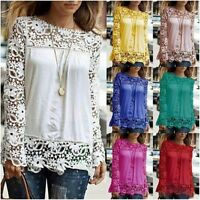 Women Ladies Long Sheer Sleeve Lace Embroidery Chiffon Shirt Top Blouse