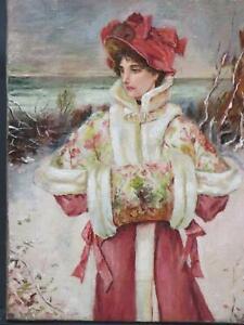 Victorian Portrait Oil Beach Snowscape Essex Circa 1890 Society Lady