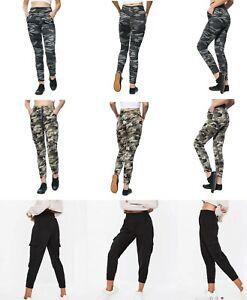 Womens Ladies Camouflage Army Print Side Zip Pocket Skinny Legging Size 8-14 UK