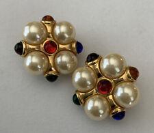 Signed Kjl Maltese Pearl Rhinestones Vintage Figural Earrings