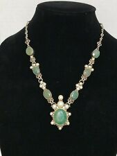 Sterling Silver Green Beryl Gemstones & Pearls Necklace