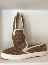 Coach Chrissy Slip on Sneakers Khaki/Cream Sz 8,5 New