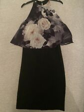 Lipsy Floral Grey Black Dress Size 10 Brand New With Tags High Necks