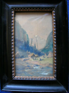 Miniature watercolor painting mountain stream w/ figures antique