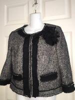 ANN TAYLOR womens 8 black white tweed cotton wool blend blazer jacket