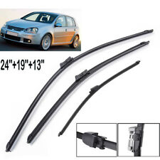 "24""19""13"" 3PCS Front Rear Windscreen Wiper Blades Kit Set Fit For VW Golf MK 5"
