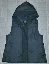 EILEEN FISHER Hooded Black Down Puffer Vest w/ Trim Sz M