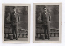 PHOTO ANCIENNE Studio Décor peint Homme Vers 1920 Bois Tronc d'arbre Costume