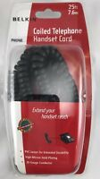 Belkin F8V101 25 Black Curly Coiled Phone Cable Handset Cord RJ-11 Male 25 FT