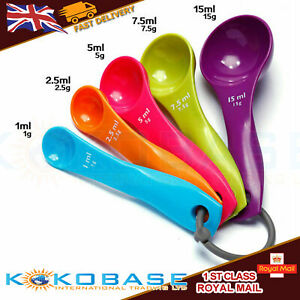 5 Pcs Colorful Plastic Measuring Spoons Set Kitchen tools tea spoon brite