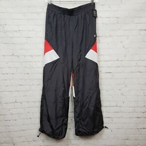 Champion Womens Nylon Warm Up Pants In Indigo Screen Red Spark White Size L NWT