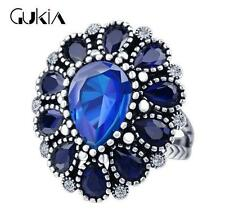 3D Luxury Men's Woman Silver Inlaid multicolor Stone Crystal Female Ring Size 7