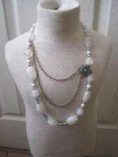 "White, Silver and Turquoise 24"" Necklace Filigree Flower Pendant~LBDFK"