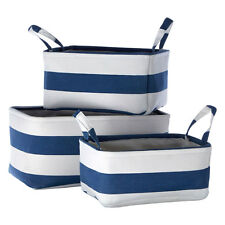 Premier by Prime Furnishing Set of 3 Nautical Storage Baskets Blue and White -