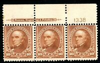 USAstamps Unused FVF US Serie of 1898 Webster Plate # Strip Sctt 283 OG MNH Rare