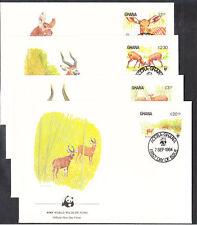 v1855 Ghana/ WWF 1984 Rotwild  MiNr 1060/63 auf 4 FDC