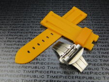 24mm Yellow Rubber Diver Strap Deployment Buckle Watch Band Pam 1950  B