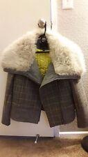 Banana Republic Women's Faux fur Regular xs Plaid Moto Jacket Gray/Multicolor