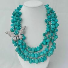 "19"" 3 Strands Turquoise Necklace CZ Pave Butterfly Connector"