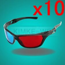 10x Black Frame Red Blue 3D Glasses For Dimensional Anaglyph Movie Game DVD