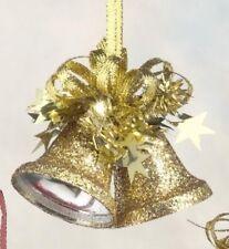 Gold Glitter Bells Christmas Tree Decorations x2  5520-gold NEW  19573