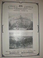 The Hotel Berkeley Piccadilly London 1905 old advert